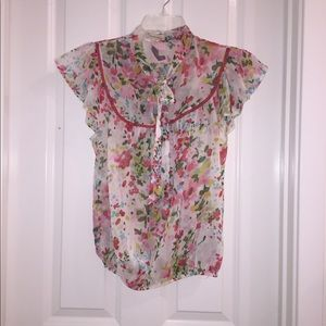 NWT Forever 21 Red & Cream Flower Blouse SZ S